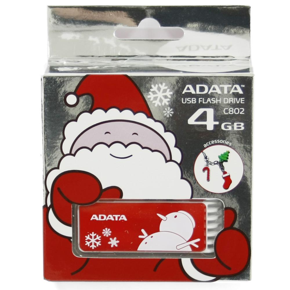 Флеш-диск 4GB A-Data C802 Red X'mas снеговик
