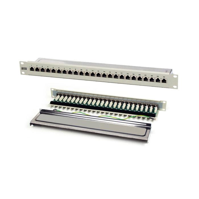 Патч-панель 19″ Hyperline на 24 порта RJ-45, категория 5E, полн. экран., Dual IDC