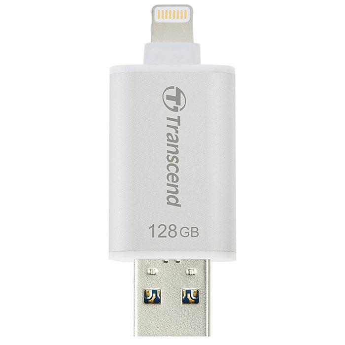 Флеш-диск 128Гб Transcend JetDrive Go 300K для Apple iPhoneiPadiPod Touch с разъемом Lightning MFI серебристый