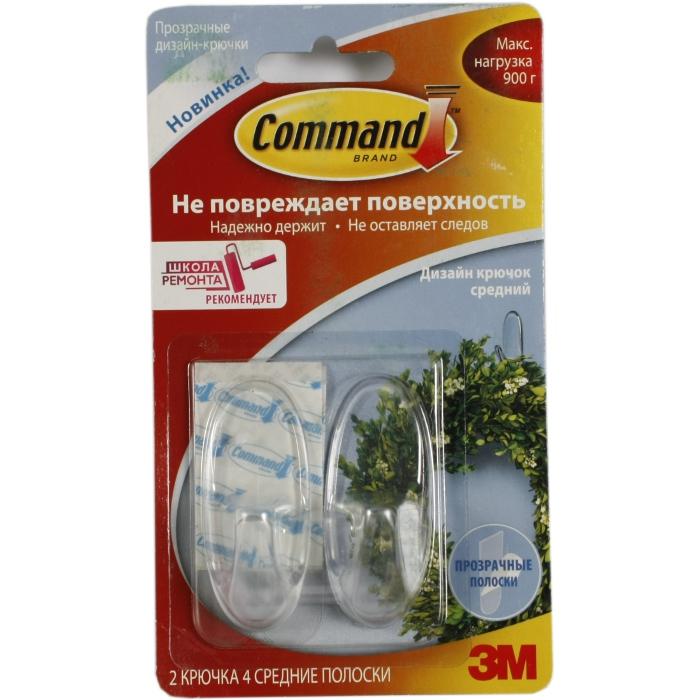 Command 17091CLR легкоудаляемый прозрачный дизайн крючок Средн. 0,9кг, 2шт