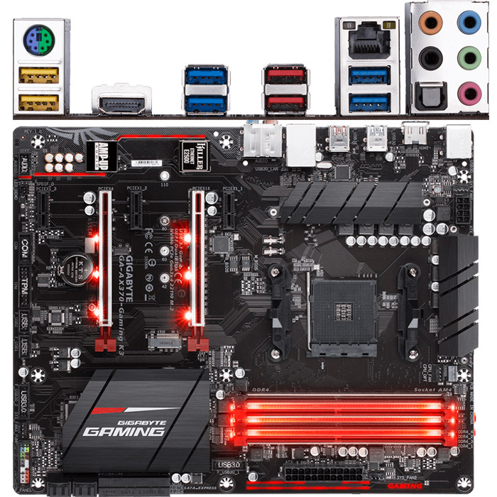 Материнская плата Gigabyte AMD X370 AM4 DDR4 ( GA-AX370-Gaming K3 ) ATX, Ret