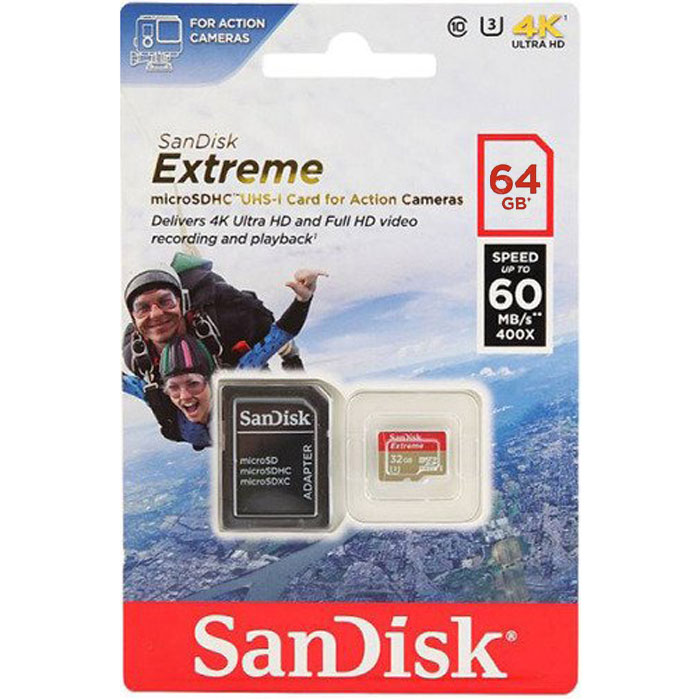 Флеш-карта microSDXC 64Гб Sandisk Extreme for Action camera, Class 10 UHS-1 U3 V30 ( SDSQXVF-064G-GN6AA )