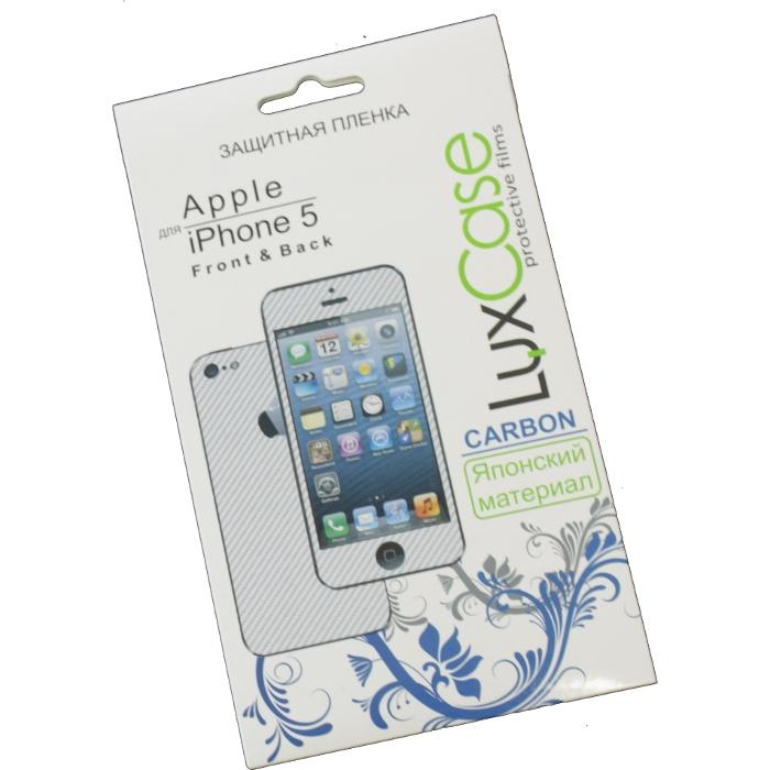 Защитная плёнка для iPhone 5/Phone 5c/iPhone 5s (Front&Back), Luxcase Карбон (белый)