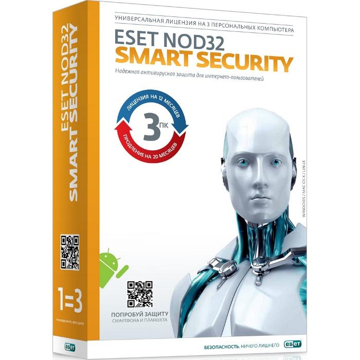 Антивирус Eset Software Nod32 Smart Security + Bonus — лицензия на 1 год на 3ПК или продление на 20 месяцев ( Nod32-ESS1220-BOX-1-1 )