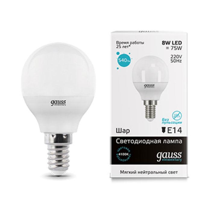 Светодиодная лампа Gauss Elementary Globe E14 8W 230V белый свет