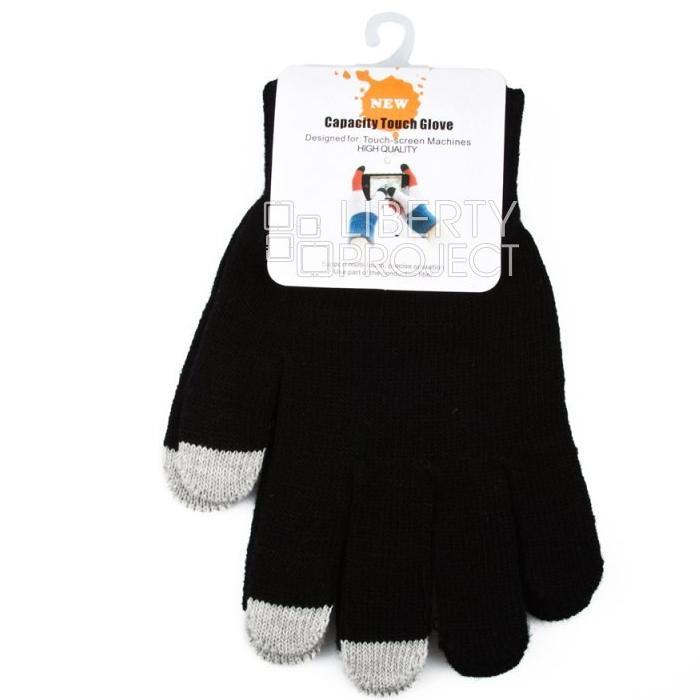 Перчатки для мобильных устройств Liberty цвет черный/серый , размер M