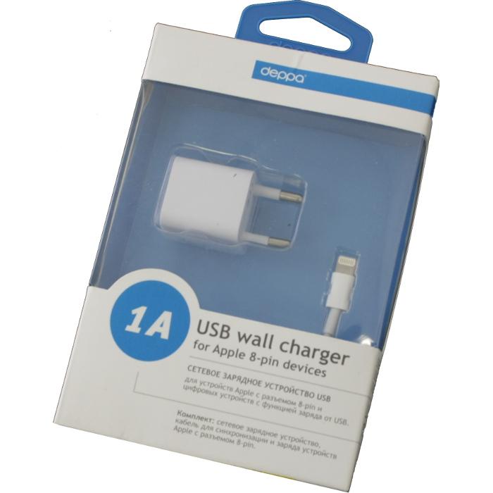 Зарядное устройство сетевое Deppa Ultra Apple Lightning, ток 1A, белое (11305)
