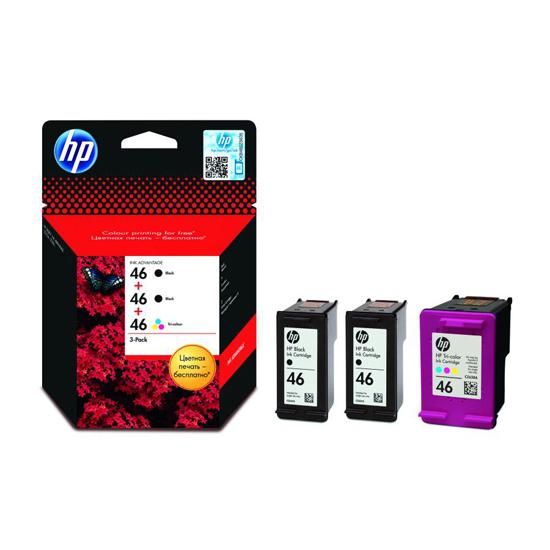 Картридж HP F6T40AE №46 Combo pak (2 шт HP-CZ637AE + 1 шт. HP-CZ638AE)  для DJ IA 2520hc/2020hc