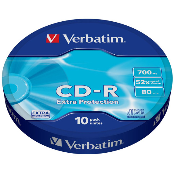 Оптический диск CDR Verbatim DL 700Mb 52x Shrink Case (43725) 10шт