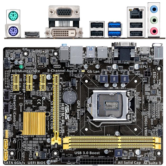 Материнская плата ASUS H81 LGA1150 DDR3 ( H81M-Plus ) mATX