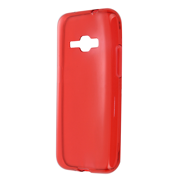 Чехол Gecko Силиконовая накладка для Samsung Galaxy J1 (2016) SM-J120F/DS, прозрачно-глянцевая, красная