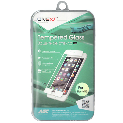 Защитное стекло Onext для iPhone 6 / iPhone 6s, белая рамка