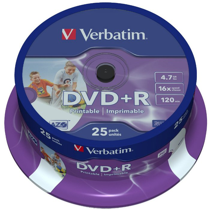 Оптический диск DVD+R Verbatim 4,7Gb 16x Printable CakeBox (43539) 25шт