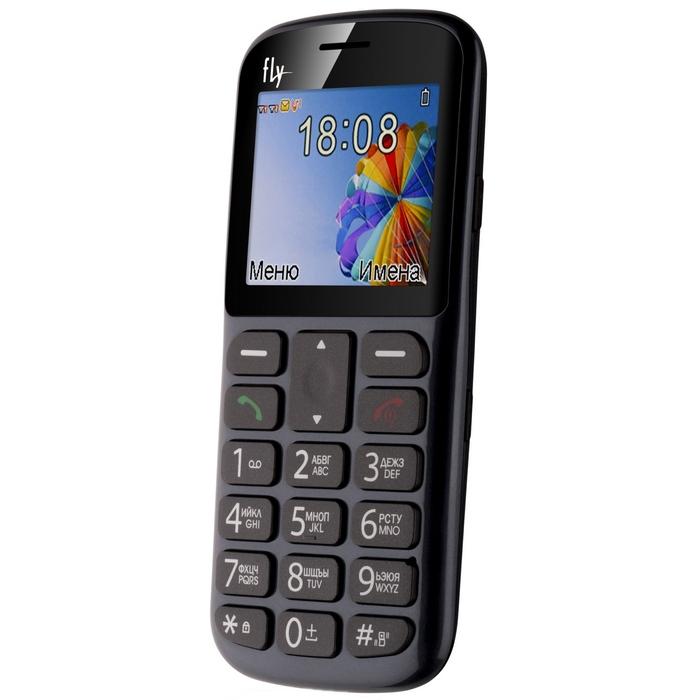 Сотовый телефон с большими кнопками Fly Ezzy 8 серый