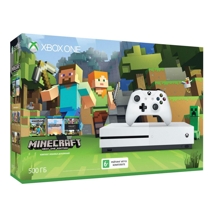 Игровая приставка Microsoft Xbox One S 500Gb + Minecraft Favorites (ZQ9-00048)