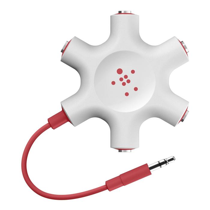 Аудиоразветвитель на пять пар наушников Belkin 3,5мм Белый/красный