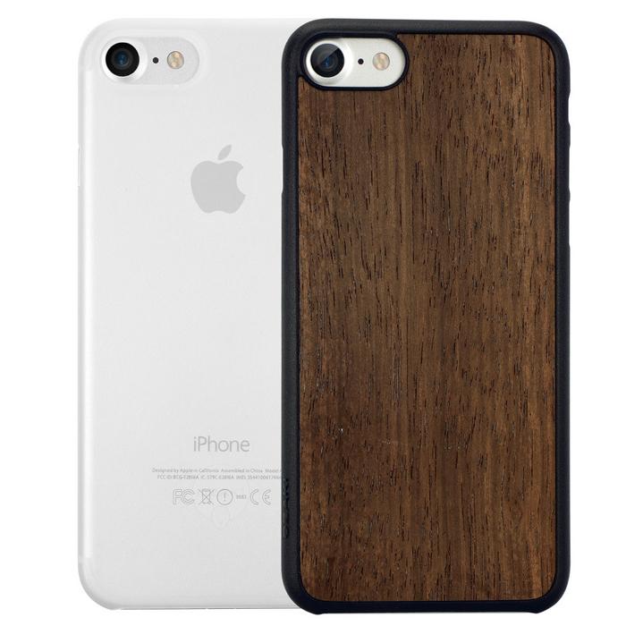 Чехол Ozaki O!coat 0.3 Jelly и O!coat Wood для iPhone 7, два чехла в наборе, прозрачный и темно-коричневый