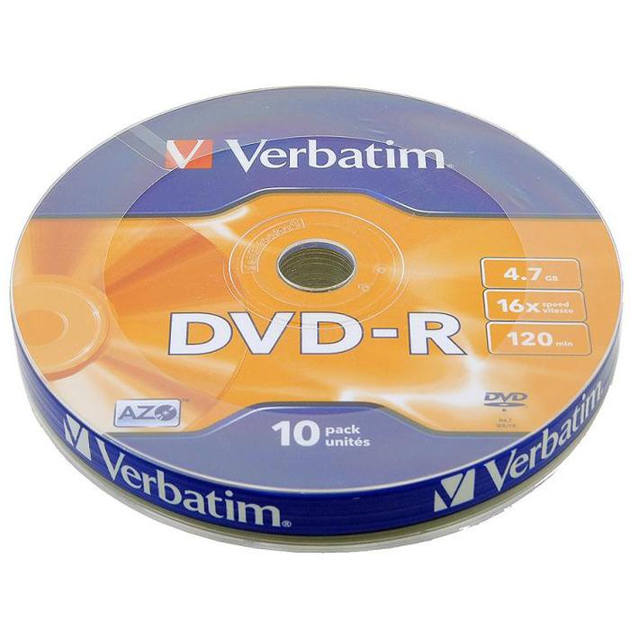 Оптический диск DVD-R Verbatim 4,7Gb 16x Shrink (43729) 10шт