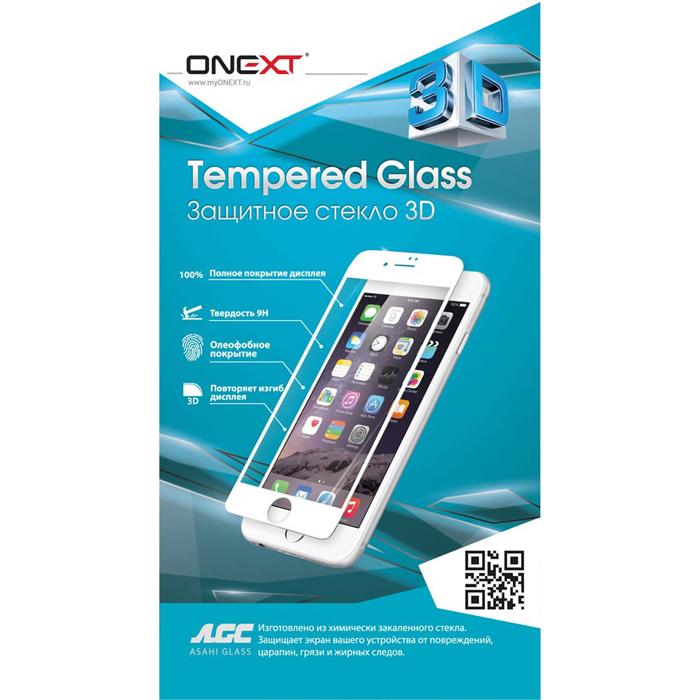 Защитное стекло Onext для iPhone 7 Plus 3D, изогнутое по форме дисплея, белая рамка