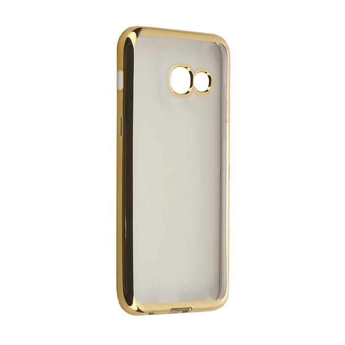 Чехол skinBOX silicone chrome border case для Samsung Galaxy A3 (2017) SM-A320F, золотистый