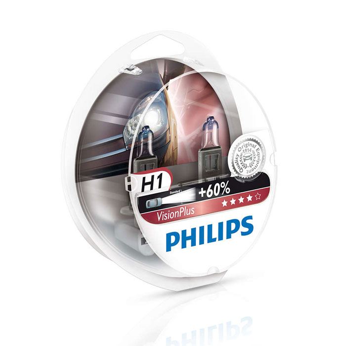 Лампа Philips H1 55W Vision Plus 2 шт.