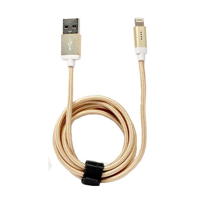 Кабель для iPhone 5 / iPhone 6 /iPad Lightning MFI Qumo 1м, в оплетке, золотистый