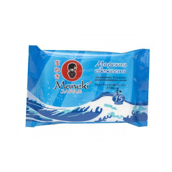 Салфетки MANEKI Kaiteki влажные антибактериальные «Морская свежесть» 15шт