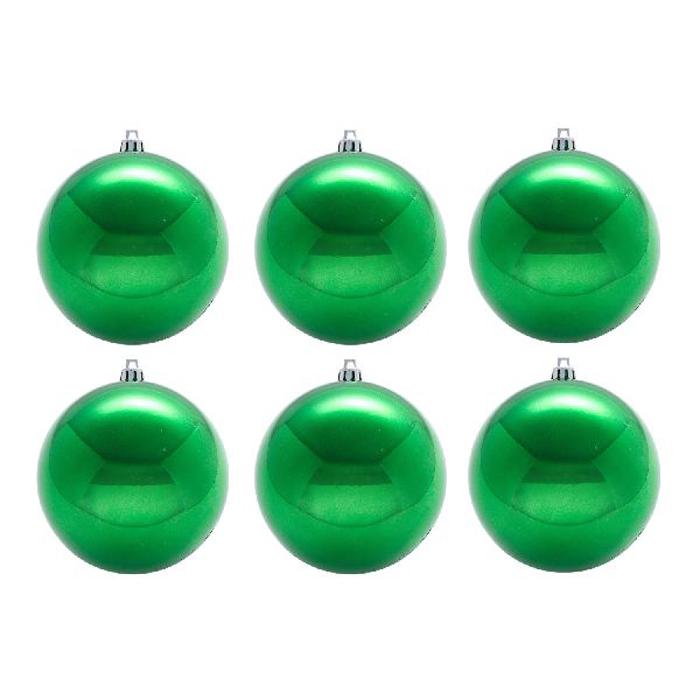 Нов игрушка шар пластик блест.d=8см  6шт в пакете зеленый