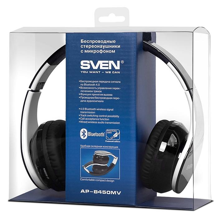 Гарнитура SVEN AP-B450MV Bluetooth черно-белая