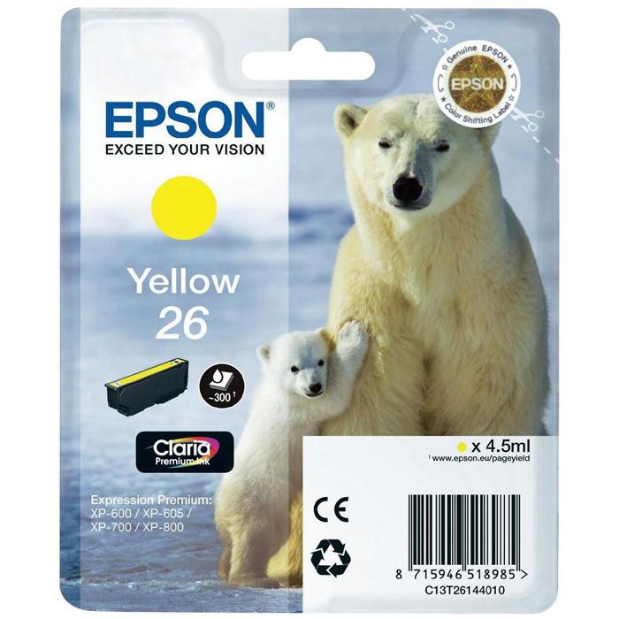 Картридж EPSON C13T26144010 Yellow для XP-600/605/700/800