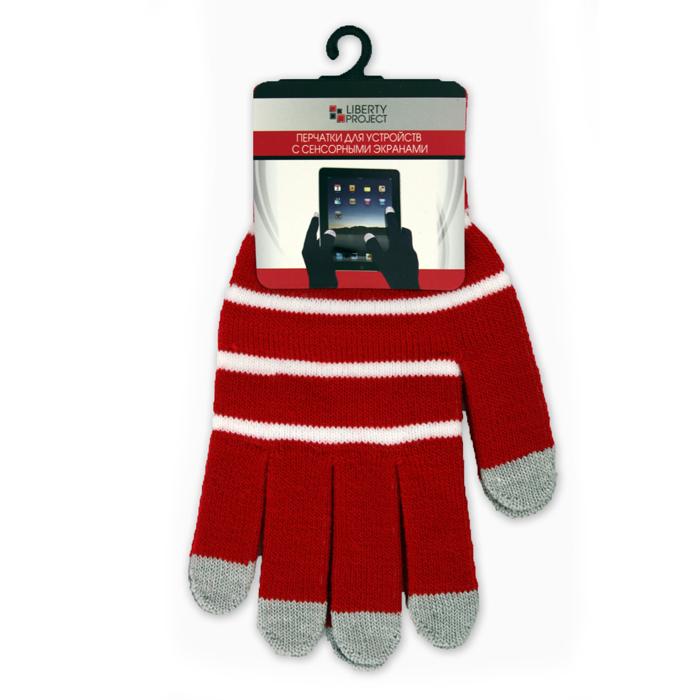 Перчатки для мобильных устройств Liberty цвет красные, с полосками, размер S