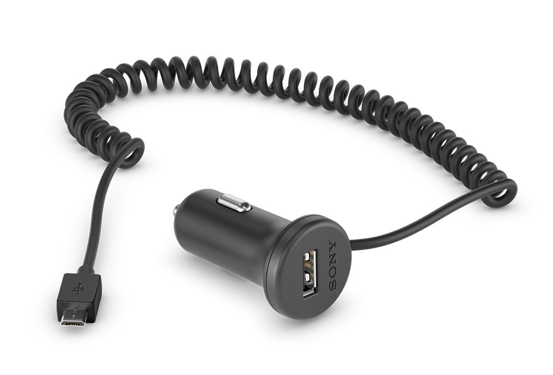 Зарядное устройство автомобильное Sony AN-420 витой кабель micro USB, дополнительный разъем USB, 1.8A черное