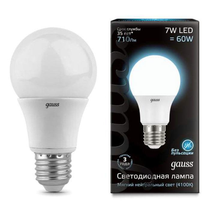 Светодиодная лампа Gauss A60 E27 7W 220V белый свет