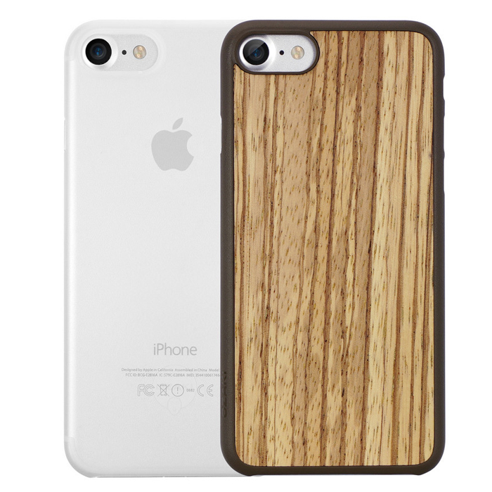 Чехол Ozaki O!coat 0.3 Jelly и O!coat Wood для iPhone 7, два чехла в наборе, прозрачный и бежево-коричневый