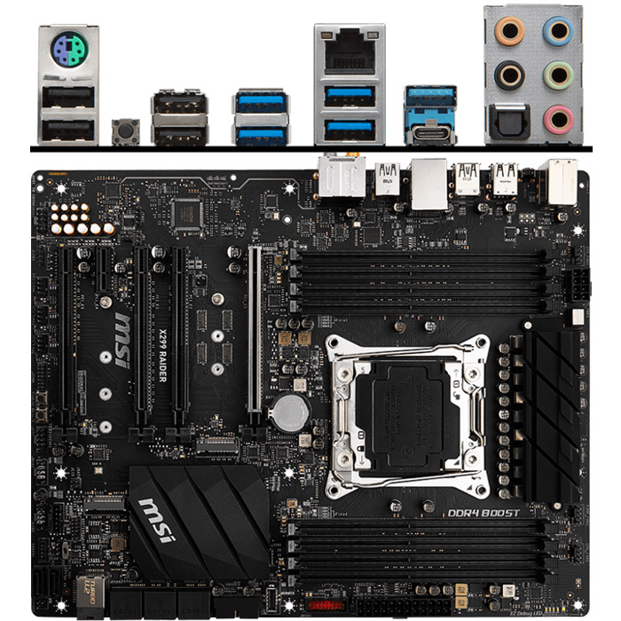 Материнская плата MSI X299 LGA2066 DDR4 ( X299 Raider ) ATX Ret