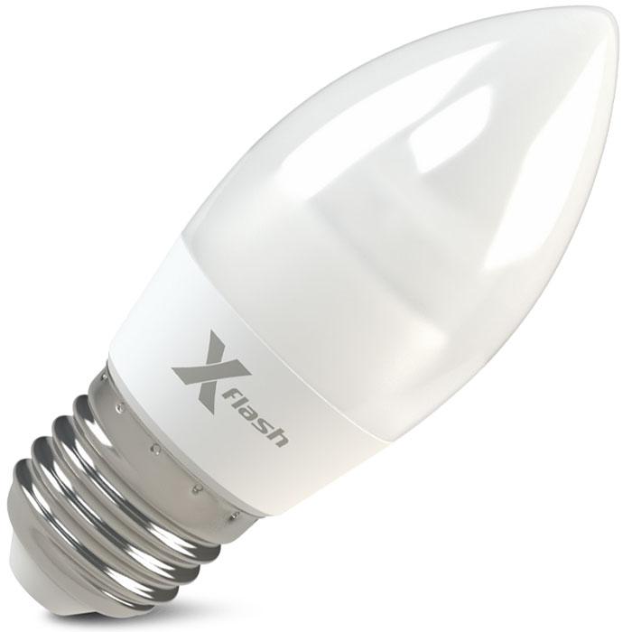 Светодиодная LED лампа X-flash Candle E27 6.5W 220V белый свет, матовая колба