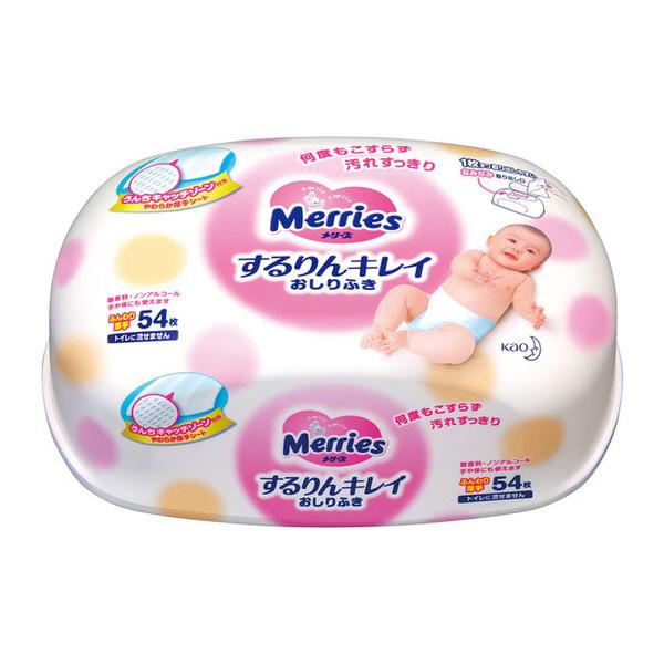 Влажные салфетки Merries запасной блок, 54 шт. розовый (Пластиковый контенер)