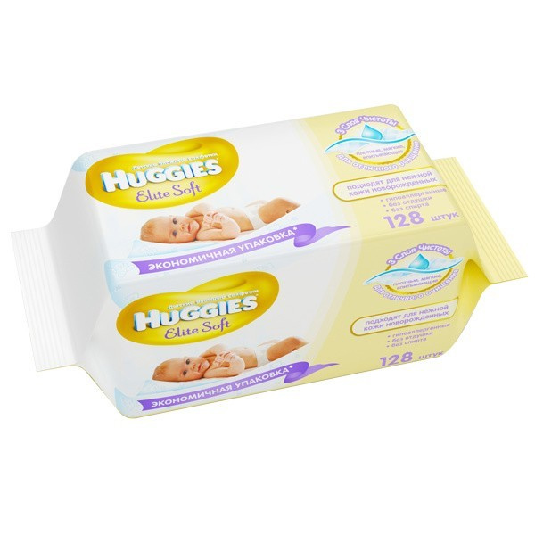 Салфетки Huggies Elite Soft 128 см