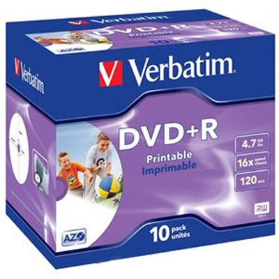 Оптический диск DVD+R Verbatim 4,7Gb 16x Jewel Case Printable (43508) 10шт