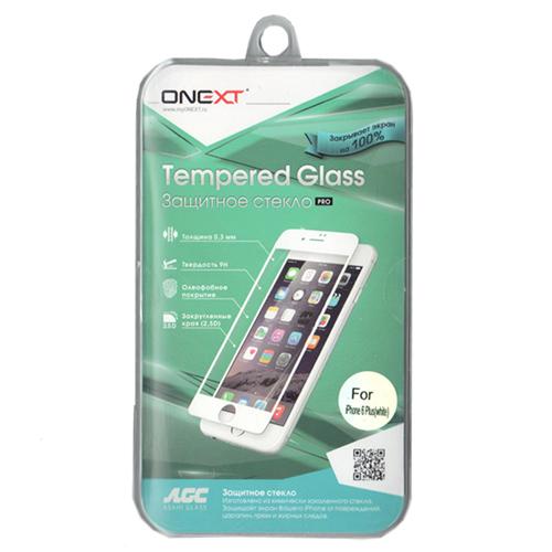 Защитное стекло Onext для iPhone 6 Plus, белая рамка