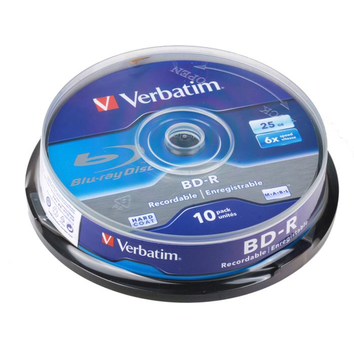 Оптический диск BD-R Verbatim 25Gb 6x CakeBox (43742) 10шт