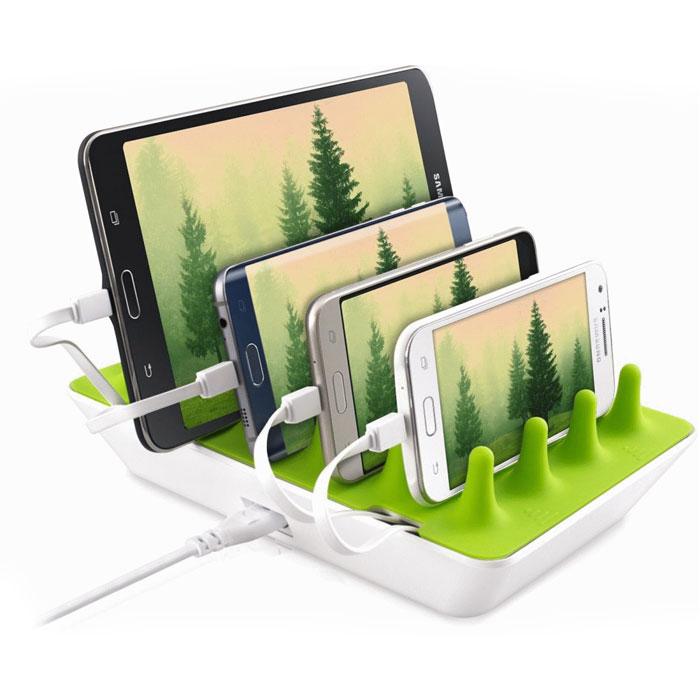 Стационарное зарядное устройство GELID Zentree 48W, 4 USB, 9.6A, белый/зеленый