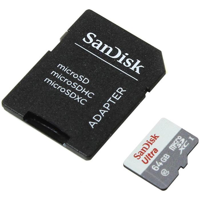 Флеш-карта microSDXC 64Гб Sandisk Ultra , Class 10/UHS-1 ( SDSQUNB-064G-GN3MA )