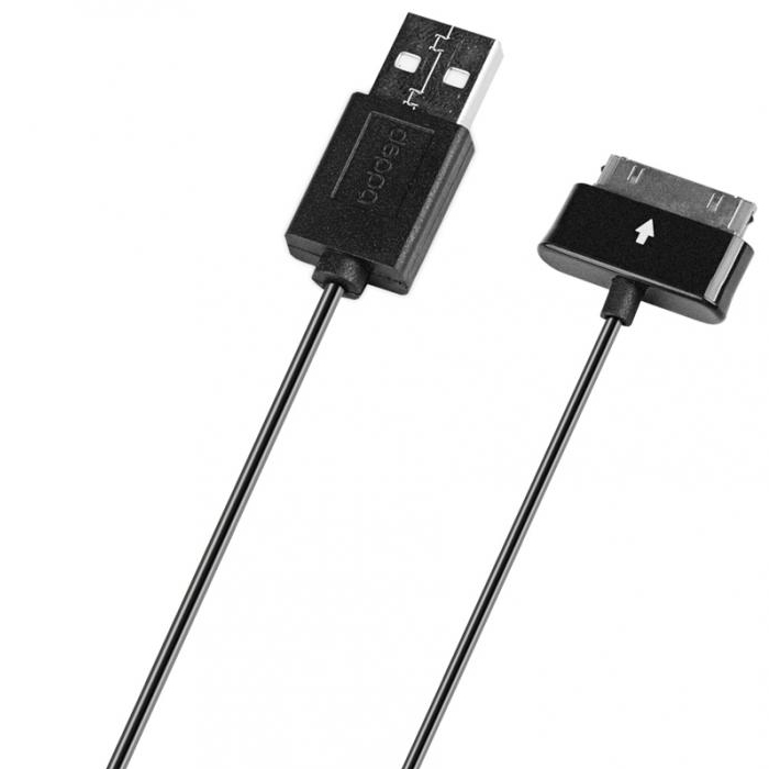 Кабель для планшета Samsung Galaxy Tab 30pin Deppa 1.2м черный 72105