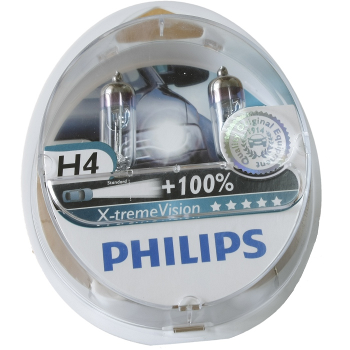 Лампа Philips H4 60/55W X-treme Vision + 2 шт.