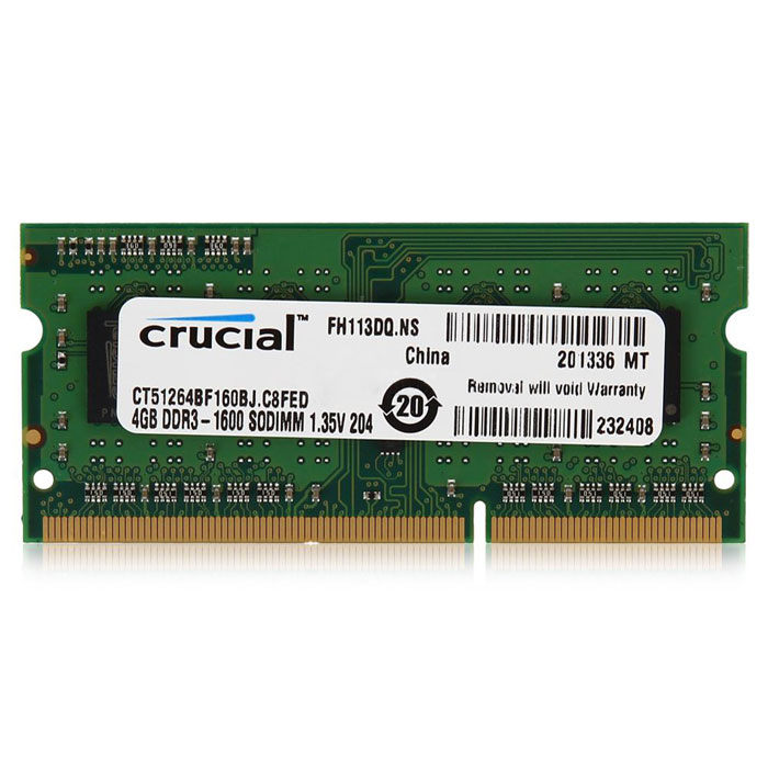 Модуль памяти SO-DIMM DDR3L 1600Mhz 4Gb Crucial ( CT51264BF160B (J)) M8FP