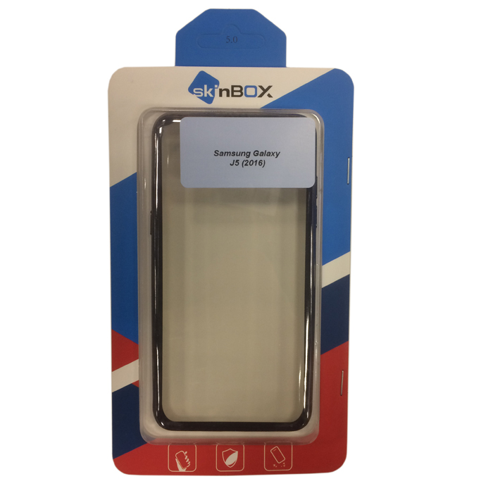 Чехол SkinBox 4People silicone chrome border для Samsung Galaxy J5 (2016) SM-J510FN, темно-серебристый