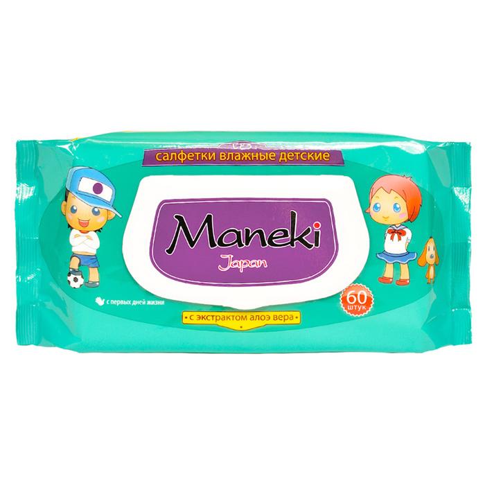 Влажные детские салфетки Maneki Kaiteki с экстрактом Ромашки и Алоэ Вера 60шт