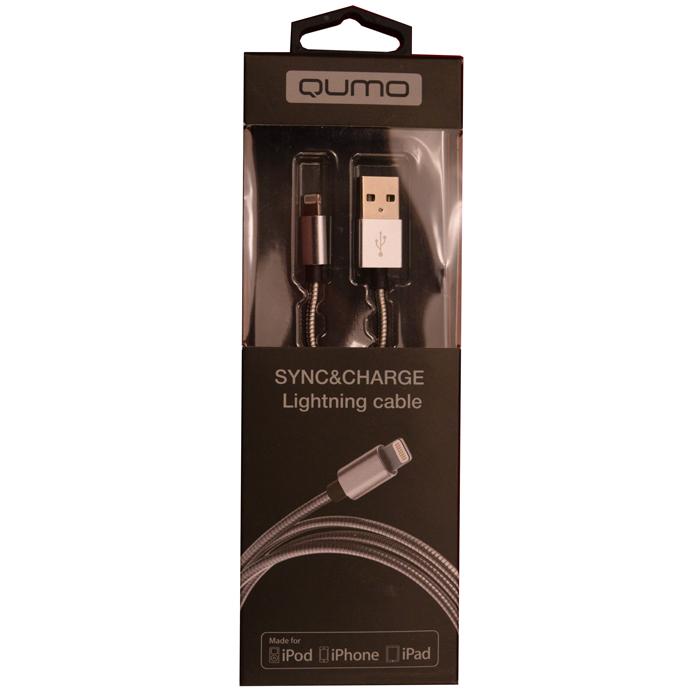 Кабель для iPhone 5 / iPhone 6 /iPad Lightning MFI Qumo 1м, стальная пружина по всему кабелю, металлический коннектор, серебристый