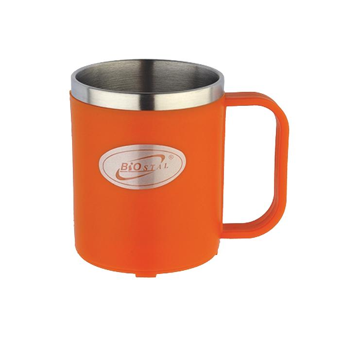 200NE Термокружка  Biostal с цвет.пласт.( 0.20 л.) оранжевая